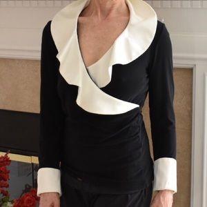 White House Black Market silky collar Top Size S
